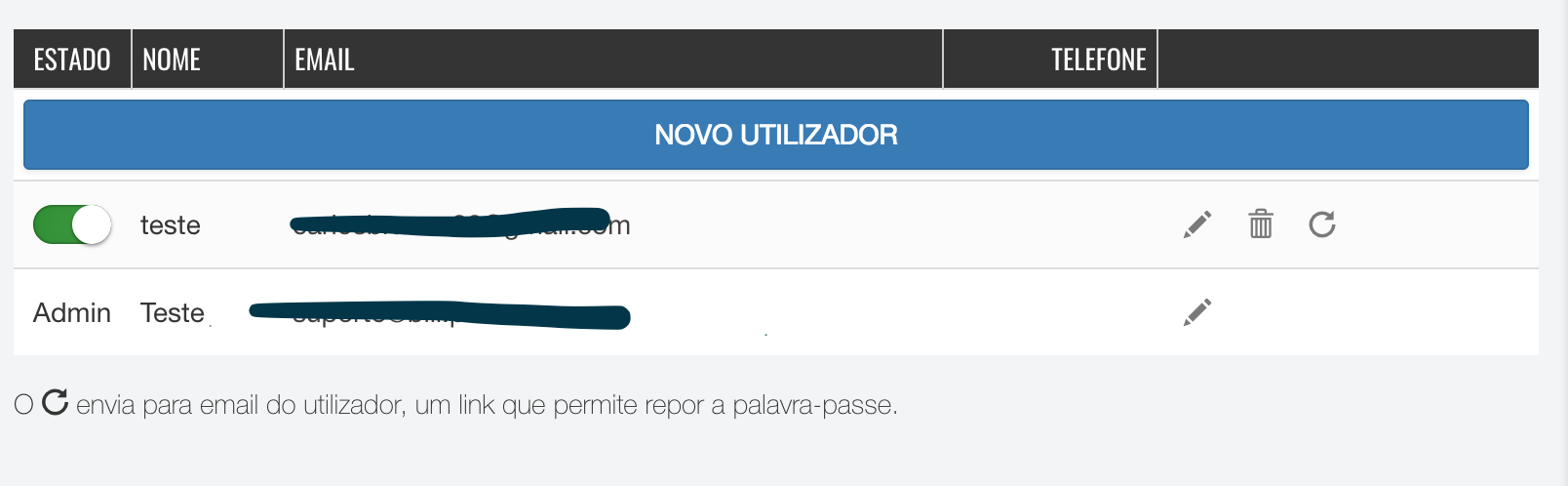 adicionar e remover utilizadores